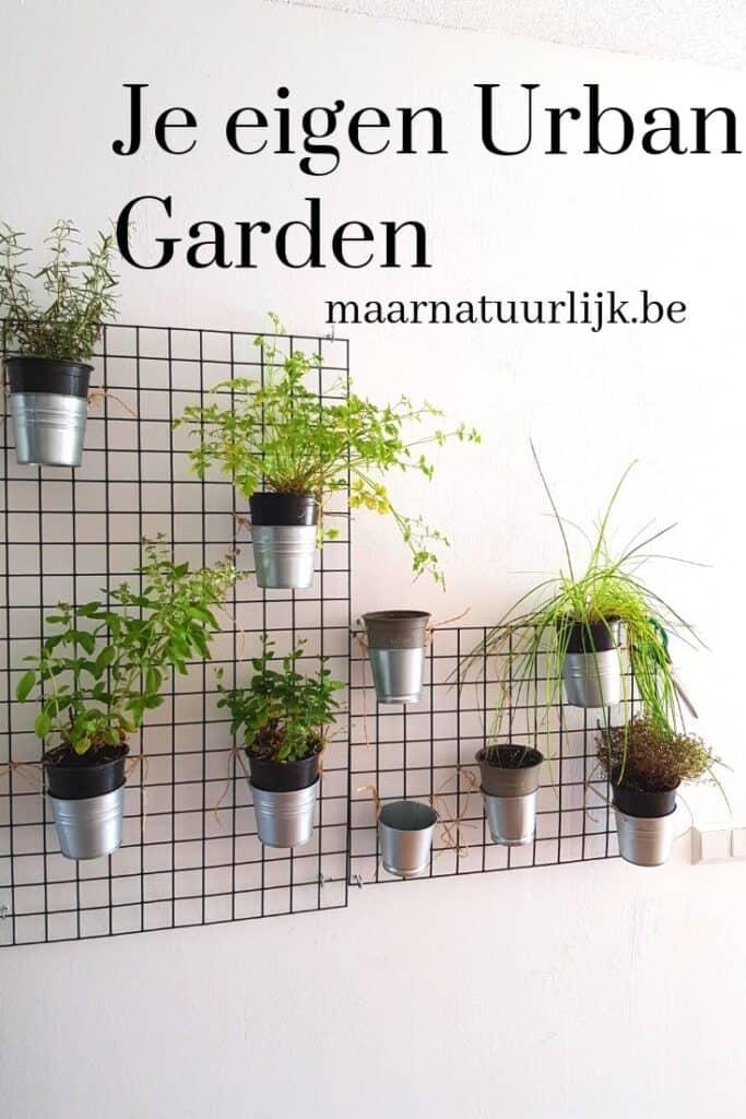 Urban-garden-met-gaas-aan-de-muur-verticale-tuin