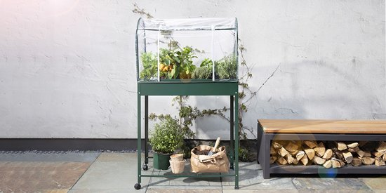 detail Plantenkas | Moestuinbak | Kruidenbak | Kweektafel | Op wielen | 80 x 41 x 130 cm