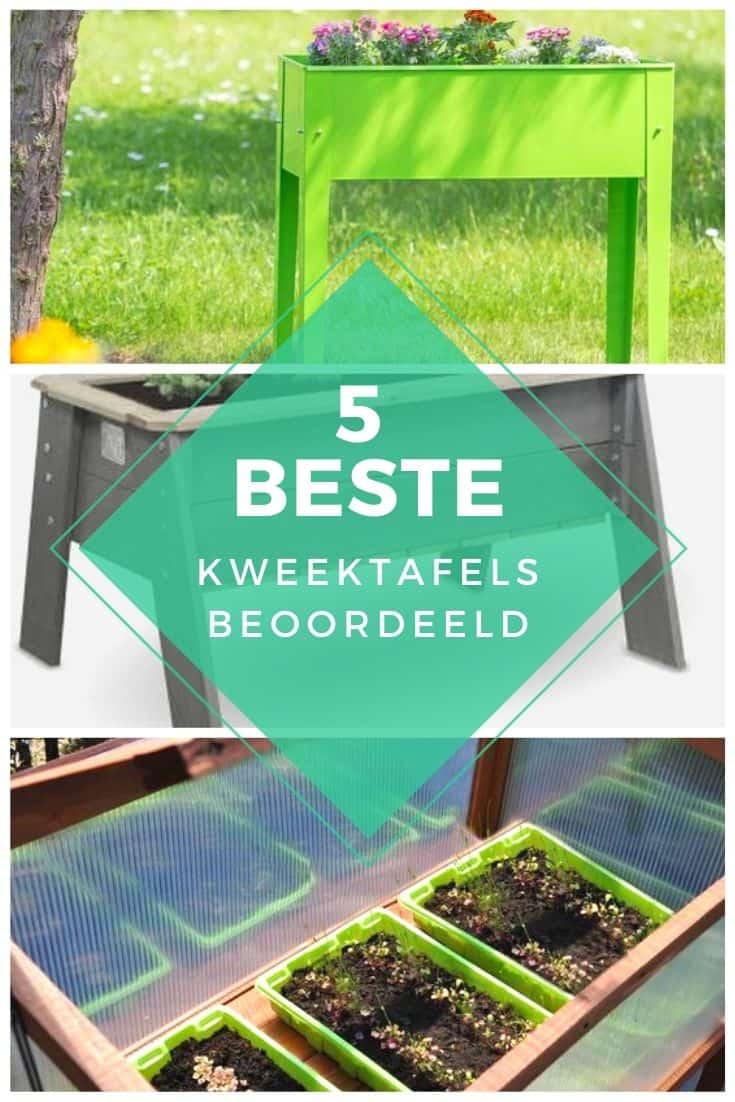 Collage met 3 soorten kweektafels voor in de tuin