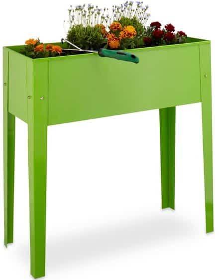 relaxdays - moestuintafel van metaal met poten - smalle beste kweektafel voor balkon grijs
