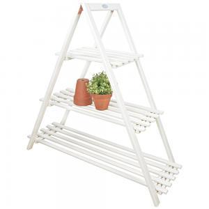 Beste plantentafel voor buiten wit driehoek van hout