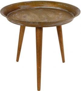 Bijzettafel Lewis Messing met houten poten