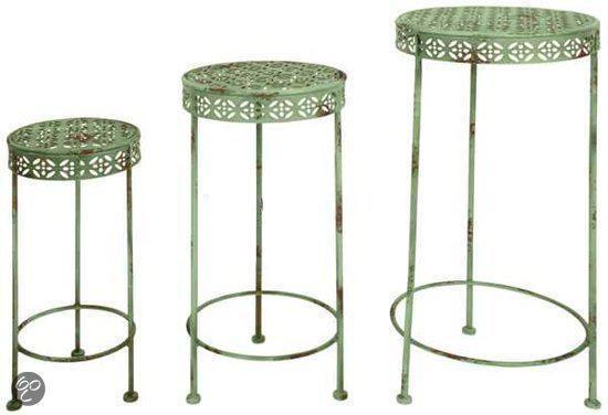 Esschert Design set van drie brocante plantentafels