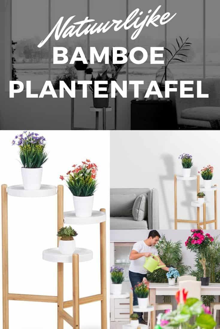 Natuurlijke bamboe plantentafel relaxdays