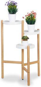 Relaxdays elegante bamboe plantentafel met 3 plateaus