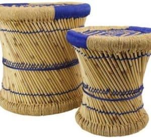 Rieten bamboe plantentafels set van twee met blauw