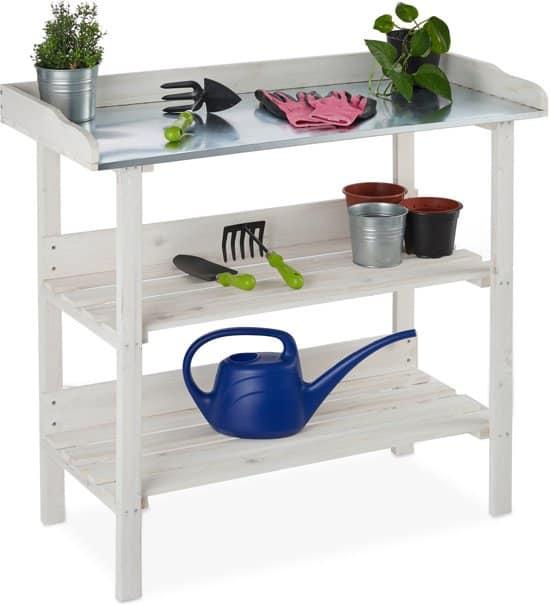 Beste oppottafel wit relaxdays houten plantentafel