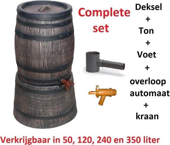 Beste mini regenton 50 liter:Exellent met voet in houtlook