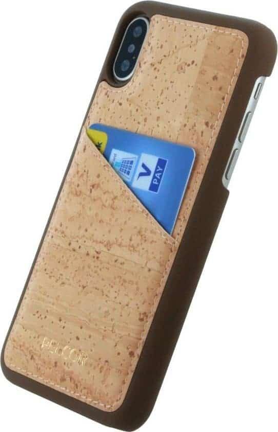 Leukste kurk hoesje voor Iphone XS/X: Pelcor Backcover Met Pasjeshouder