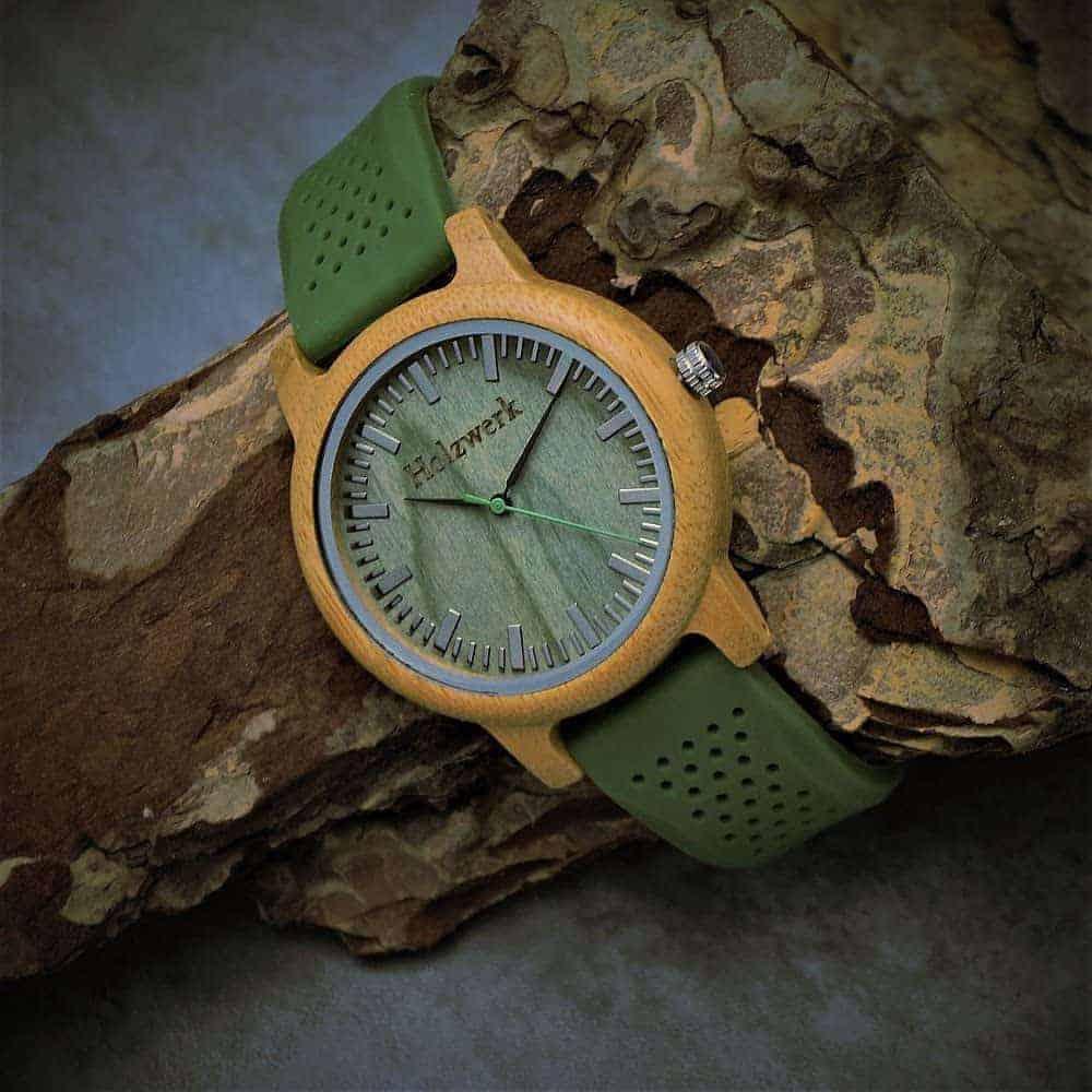 Leukste vegan heren horloge met siliconen band: Holzwerk Germany