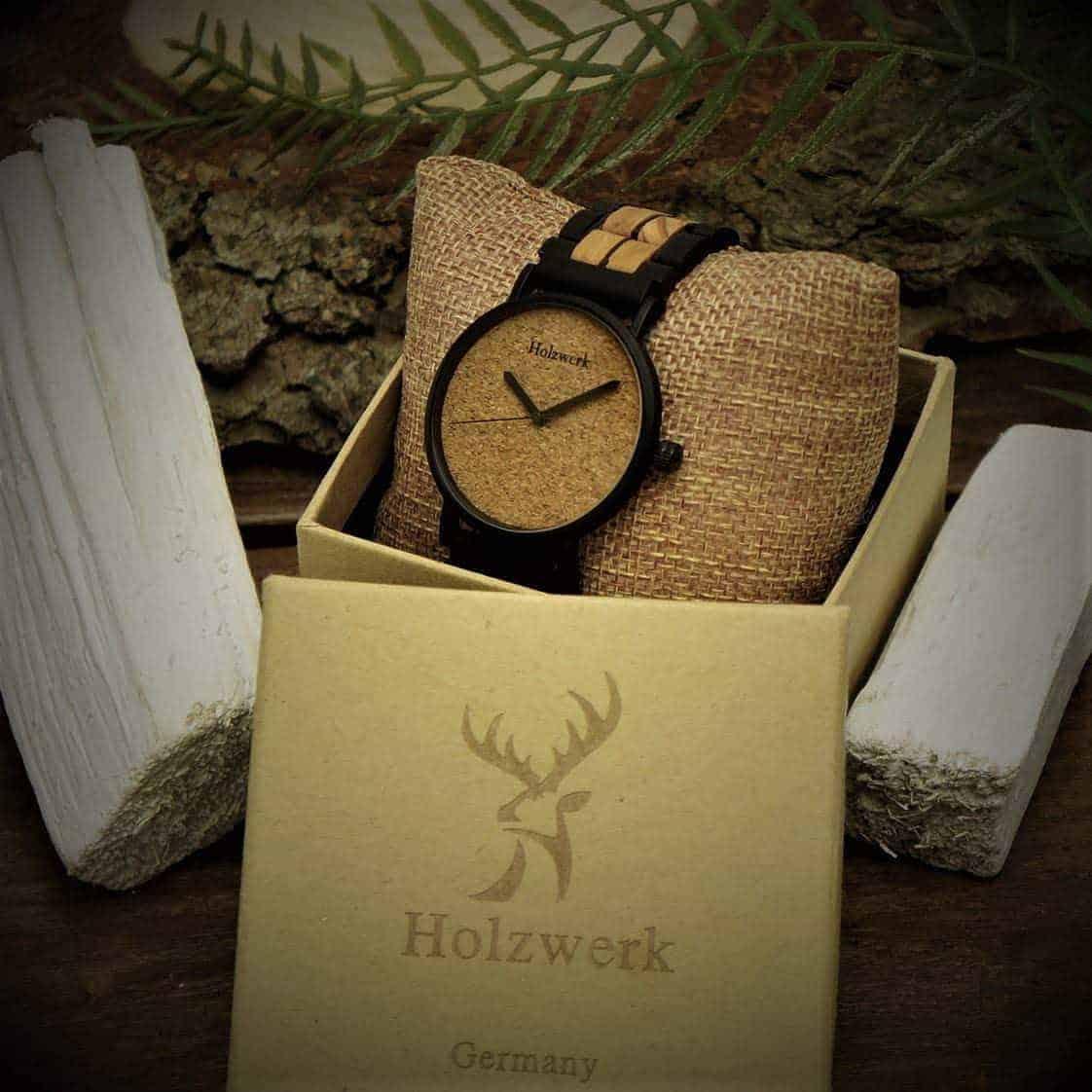 Leukste vegan heren horloge van kurk- Holzwerk Germany