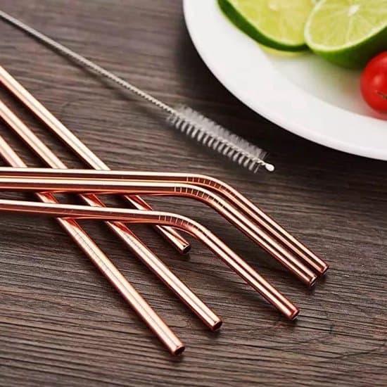 Beste chique herbruikbare rietjes-Rosé goud RVS smoothie & cocktail rietjes